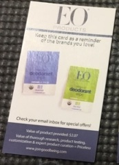 front of EO deodorant wipes card
