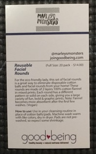 Marley's Monsters Facial Rounds back of card