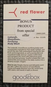 Red Flower Icelandic Moonflower Purifying Body Wash back of card