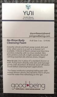 Yuni No-Rinse Body Cleansing Foam back of card